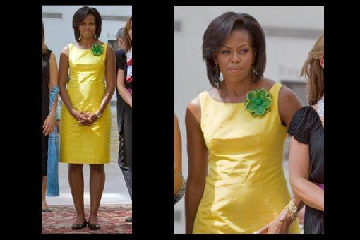 verde e amarelo Michelle Obama